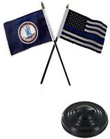 Virginia State & Usa Police Blue 4x6 Flag Desk Set Table Stick Black Base