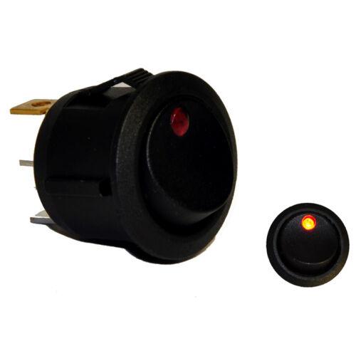 Iluminado Interruptor Redondo Rocker SPST Rojo LED de encendido//apagado 12 V 16AMP carreras de coches