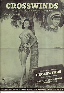 """Logisch Crosswinds Notenblatt """" Crosswinds """" Rhonda Fleming John Payne Antiquarische Noten/songbooks"""