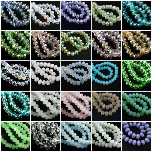 Lots Glass Crystal Faceted Rondelle Spacer Loose Beads 6//8//10//12//14//16//18mm Good