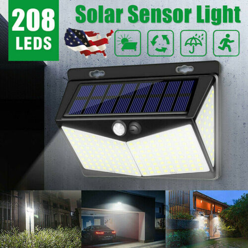 208 LED Solar Power Lights PIR Motion Sensor Wall Lamp Garden Waterproof US