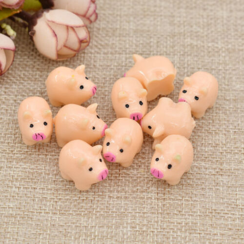 10pcs Cute Resin Miniature Pig Figurines Terrarium Fairy Garden Ornament Craft