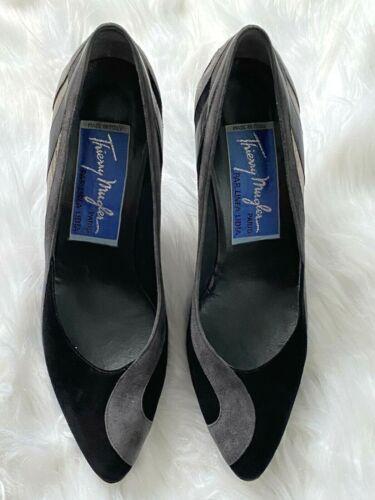 VINTAGE 90s THIERRY MUGLER Black Gray Suede Heels