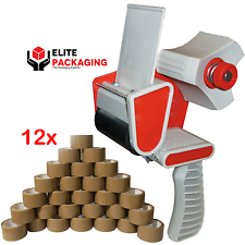 WAREHOUSE TAPE GUN DISPENSER + 12 ROLLS OF BROWN 48MM x 66M PARCEL PACKING TAPE