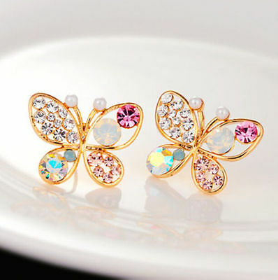 1 Pair Womens Elegant Crystal Rhinestone Butterfly Shape Ear Studs Earrings