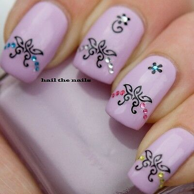Black Lace Henna Butterfly Nail Art Stickers Tips Decals Wraps Crystals Y048