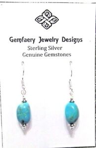 Sterling-Silver-Natural-TURQUOISE-Nugget-Dangle-Earrings-5270-Handmade-USA