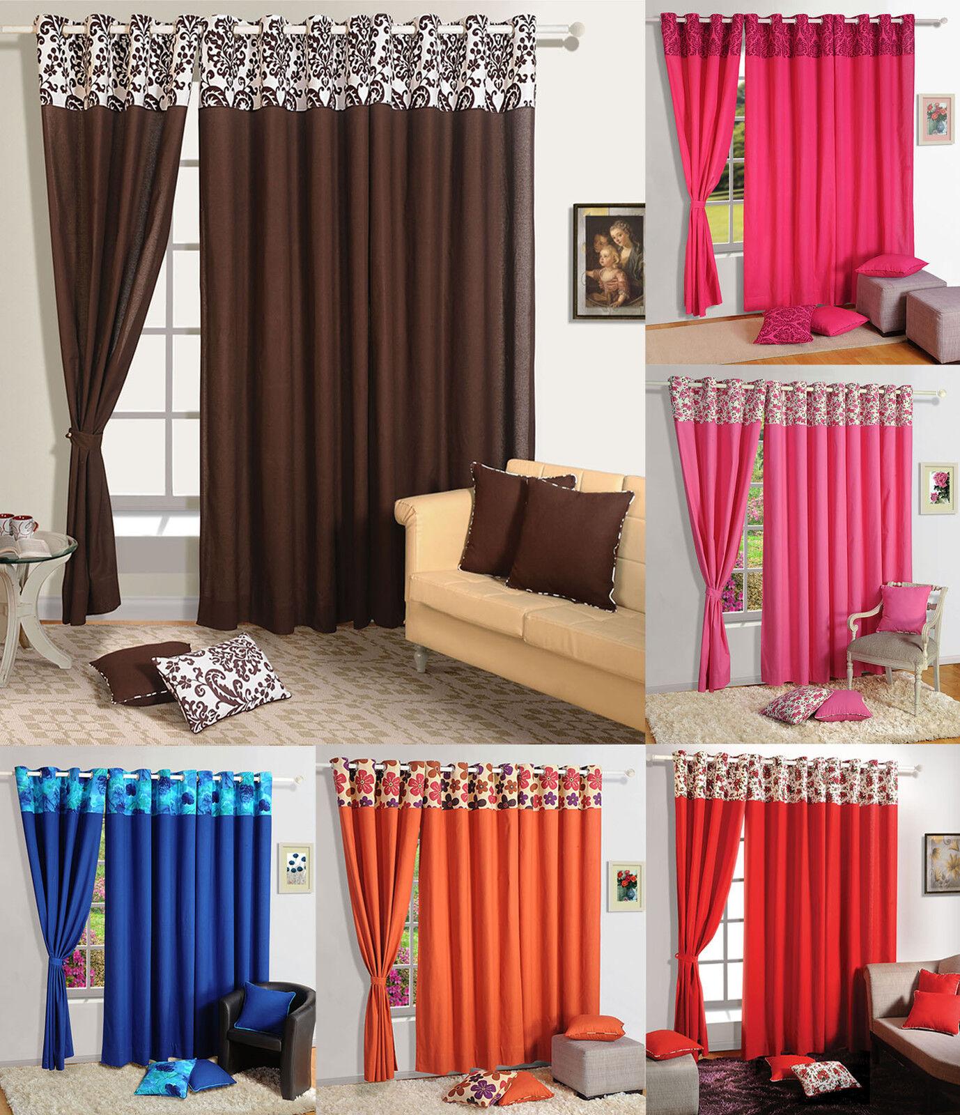 Panel de la puerta del dormitorio Premium Algodón sólida Cortina Cortina De Ventana moderno 6715