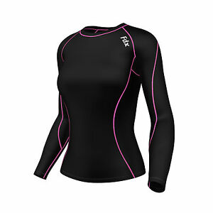 FDX-Women-039-s-Compression-Top-Long-Sleeve-Base-Layer-Running-Gym-Training-Top