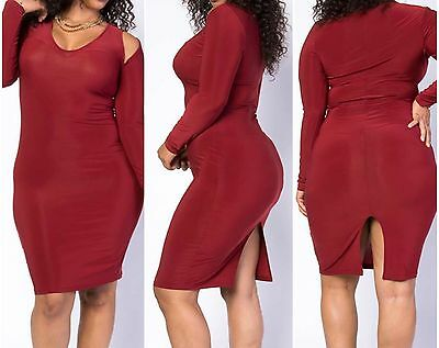 New Plus Size Sexy Cut Out Shoulder Bodycon Dress Size 2X