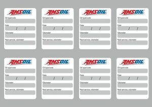Details About 8x Amsoil Oil Change Service Reminder Stickers Decals Adhesive Labels Die Cut