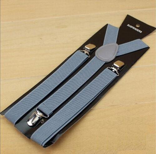 Men Women Clip-on Suspenders Elastic Y-Shape Adjustable Braces Solids