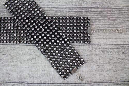 Handmade Adjustable Diamante Diamond Sparkly Choker Cuff Silver Rose Gold Black