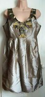 Pied A Terre Sequin Taffeta Tafetta Dress Gold Size 12