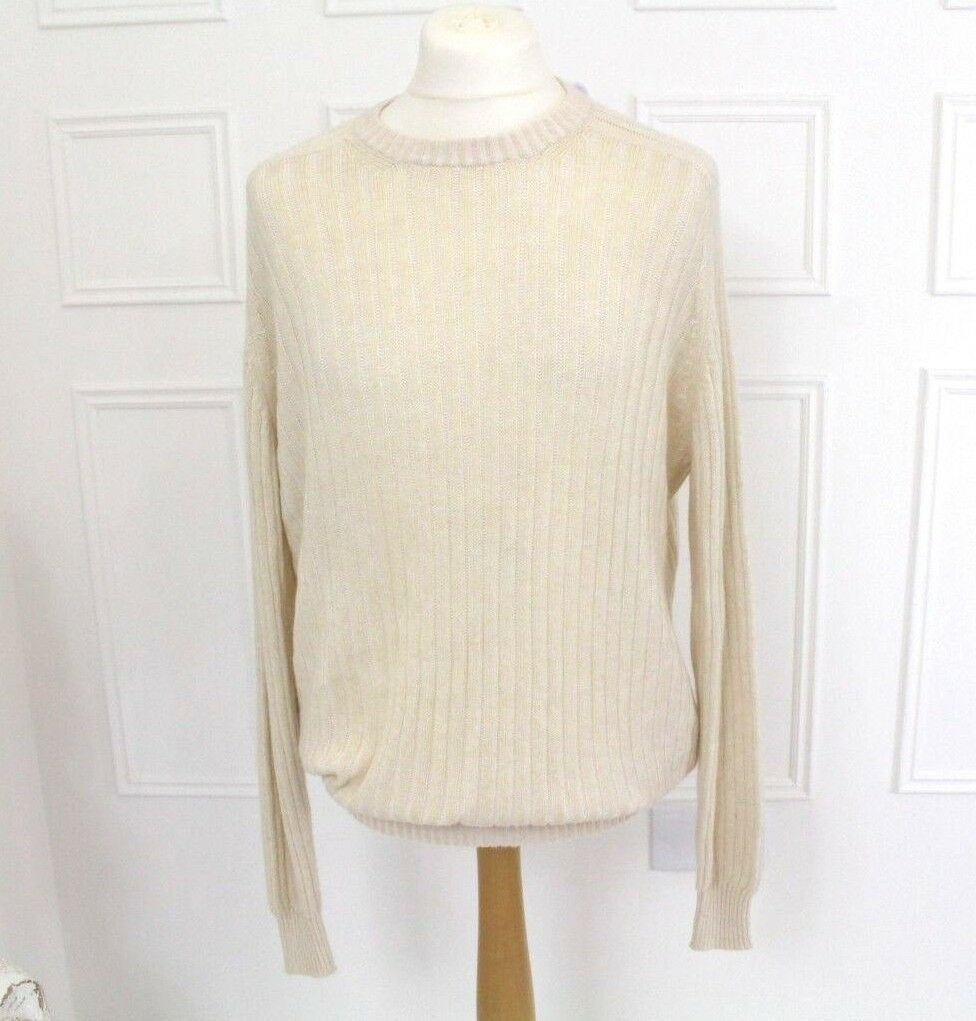 BAMFORD & SONS  Herrenwear Ivory Cream Cashmere Blend Ribbed Jumper Sweater Top L