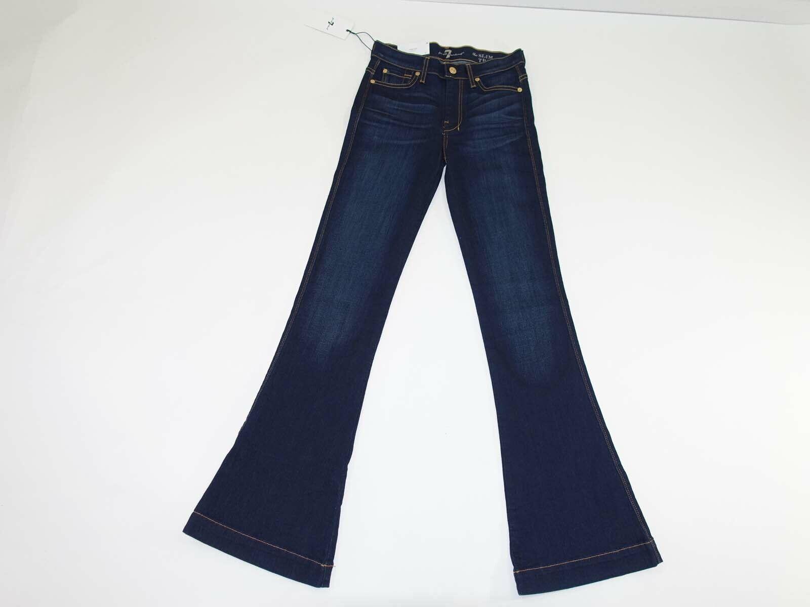 7 For All Mankind Damen Schmal Hose Jeans Größe 24 X 34 Nwt Dunkelblau