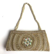 Small gold Evening Clutch Bag gold and silver beads and silver coloured jewels