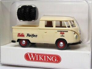 Wiking-1-87-VW-T1-Doppelkabine-Pritsche-OVP-0789-02-Doka-Fulda-Reifen