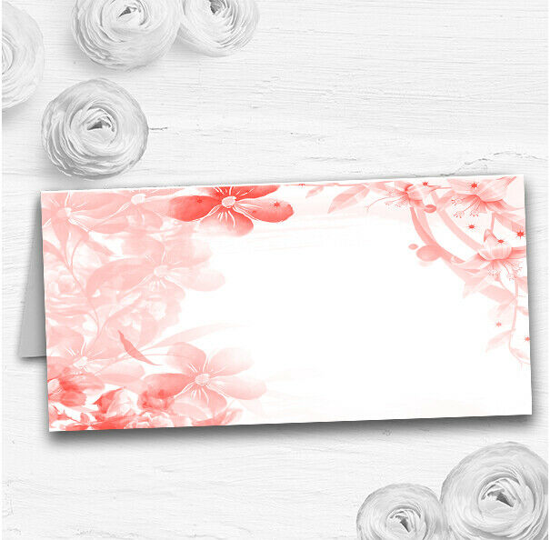 Coral Watercolour Floral Wedding Table Seating Name Place Cards