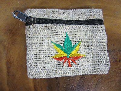 Beige 100% Eco Hemp Coin Purse Wallet With Rasta Hemp Leaf Handmade Nepal 9x10cm