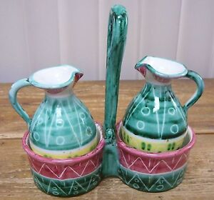 Italian-Italy-Cruet-Bottles-Holder-Pottery-Oil-Vinegar-3-Piece-Set-Majolica