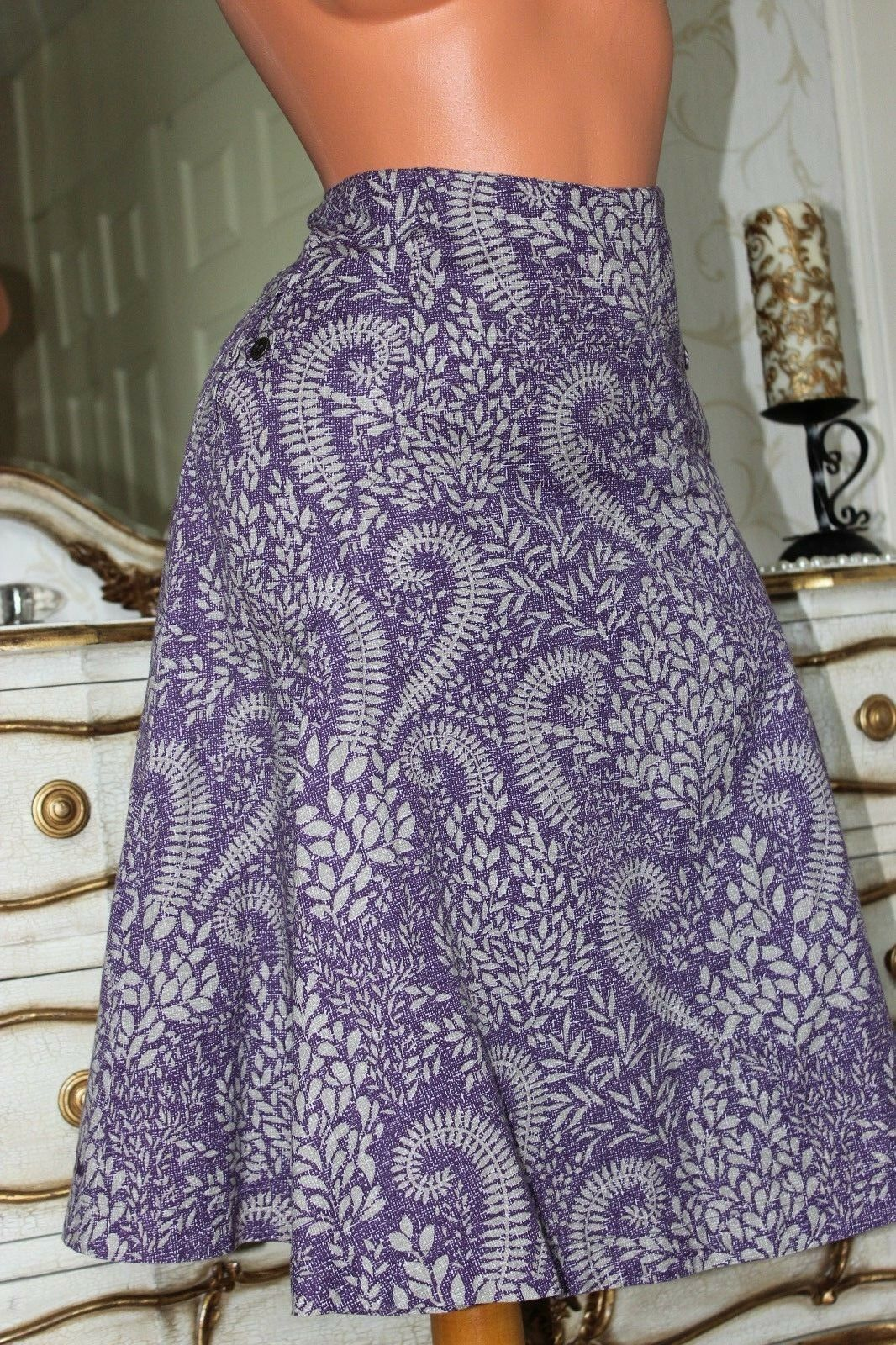 (Ref 22)  FAT FACE Purple  Linen & Cotton Mix A line Pleated Lined Skirt Size 8