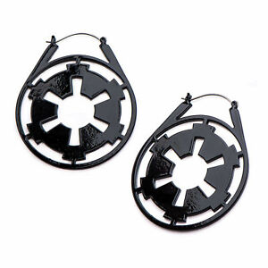 Star Wars Imperial Symbol Black IP Stainless Steel Hanger Earrings