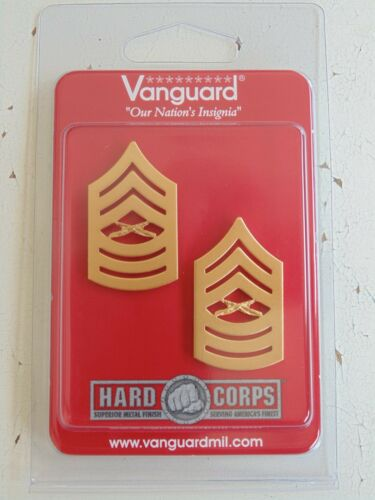 USMC US MARINE CORPS E-8 MASTER SERGEANT UNIFORM GOLD RANK DEVICE INSIGNIA PAIR