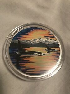 2017Orcas-Animals in the Moonlight/' Glow-in-the-dark $30 Silver 2oz .9999 18154