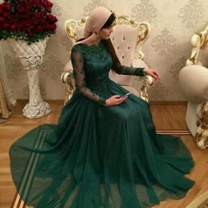 Green Arabic Hijab Prom Dress Long Sleeves Muslim Evening Formal ... 275b1a956e