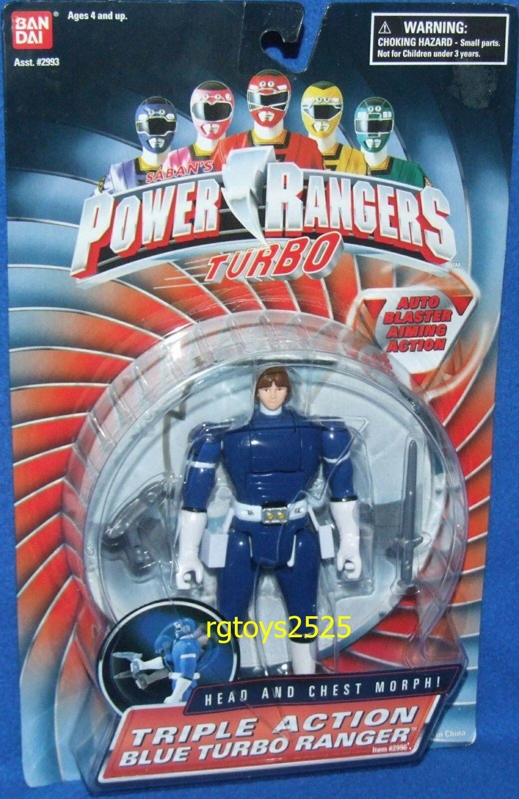 Power Rangers Turbo Triple Action Blau Turbo Ranger New Factory Sealed 1997