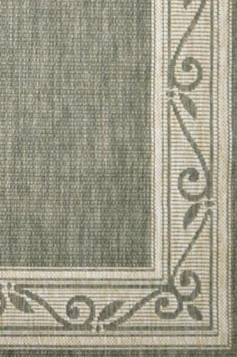 ALFRESCO SCROLL GREEN INDOOR//OUTDOOR FLOOR RUG RUNNER 67cm WIDE **FREE DELIVERY*