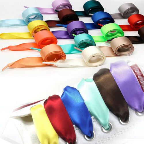 1 Pair Wide Flat Satin Ribbon Shoelace Colorful Sneaker Sport Shoes Ties New