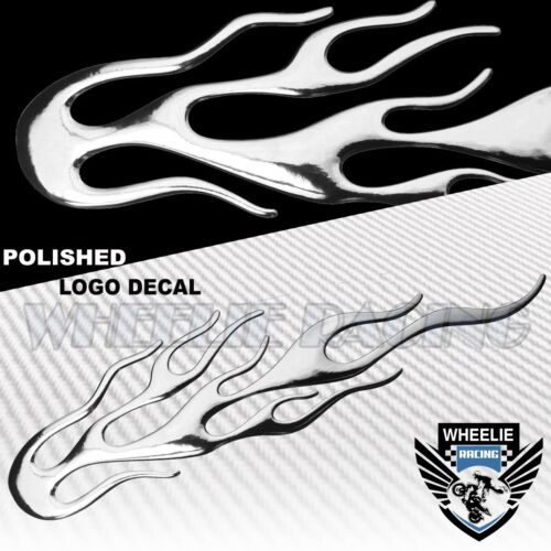 "6.25/"" 3D POLISHED ABS//SHINY EMBLEM DECAL LOGO FAIRING STICKER FIRE//FLAME CHROME"