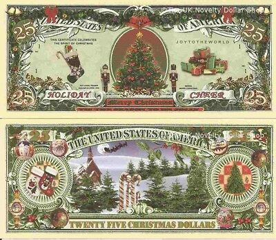 Lot of 2 bills REINDEER MERRY CHRISTMAS FUN MILLION NOVELTY DOLLAR