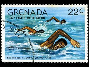 GRENADA-VINTAGE-POSTAGE-STAMP-SWIMMING-PHOTO-ART-PRINT-POSTER-PICTURE-BMP1689A