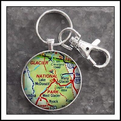 Glacier National Park vintage map photo pendant keychain charm Gift Montana