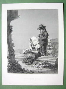 ITALIAN-CHILDREN-Offering-Ruins-Stone-Capital-120-Years-Old-Print-Engraving