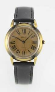 Relic Brown Men's Stainless Steel Gold Black Leather Quartz Battery Watch