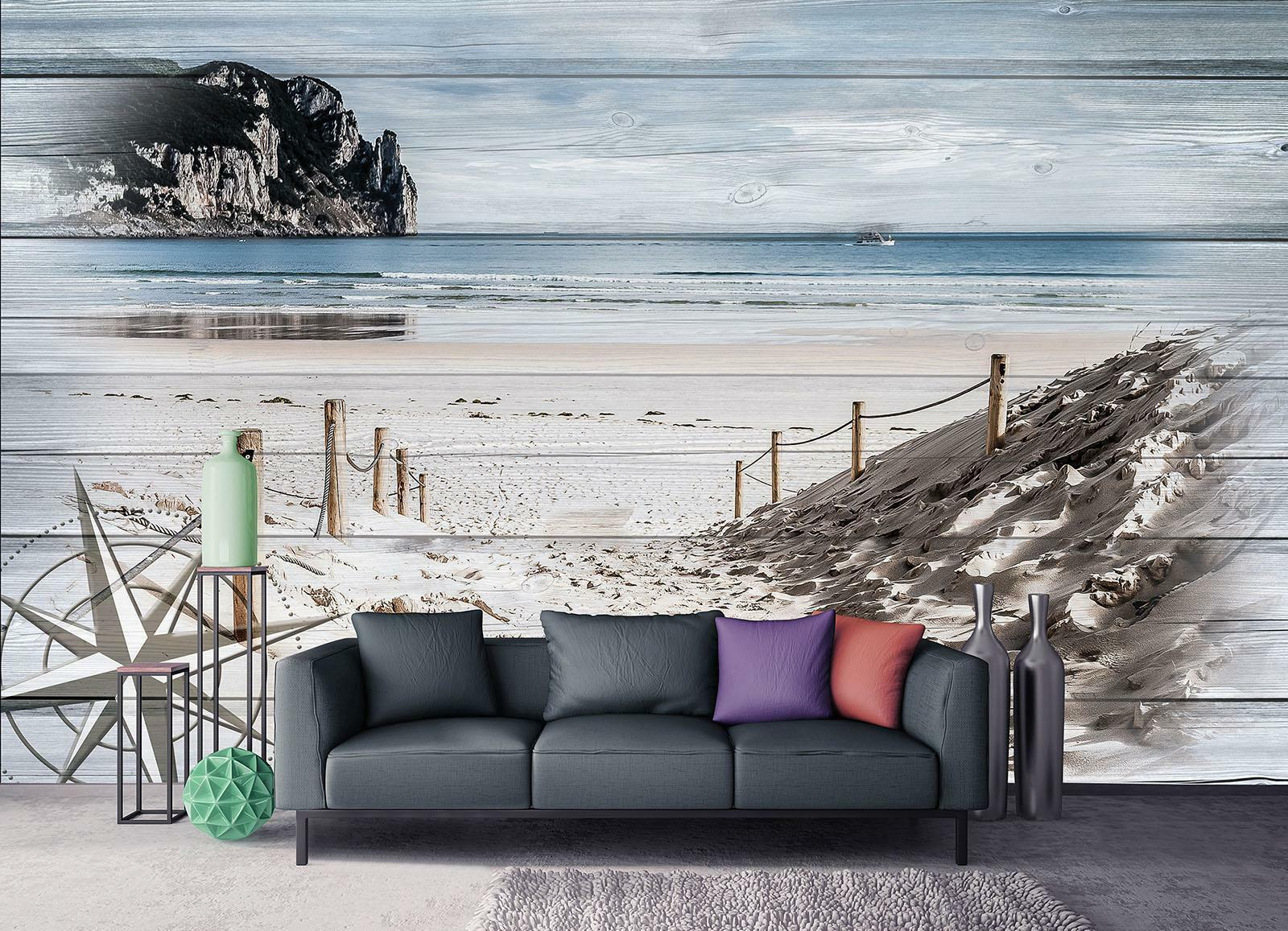 Photo Wallpaper Mural  10028_P Beach on the boards nature landscape seaview beac
