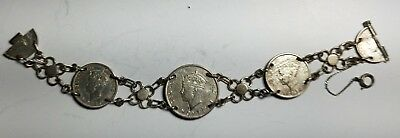"Estate Sterling Silver 1942 Fiji Coin Silver Bracelet-8 1/8""-sweetheart Wwii Smoothing Circulation And Stopping Pains Vintage Handcrafted, Artisan Coins: World"