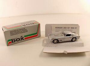 Model Box ref. 8406 Ferrari 250 GT 1956 1957 1/43 mint neuf en boite - France - État : Neuf: Objet neuf et intact, n'ayant jamais servi, non ouvert. Consulter l'annonce du vendeur pour avoir plus de détails. ... Fabricant: Model Box Echelle: 1/43 Type: Voiture: passager Couleur dominante: Argenté, Gris Marque: model box N - France