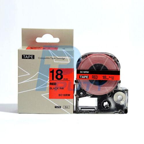 "SC18RW Replaces 18mm Epson LC5RBP  Black Red Tape KingJim  Puty 3//4/"""