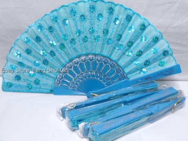 5x Set LOT Bridal Wedding Party Fabric Hand Folding Summer Fan Sequin Bead #SQ-C