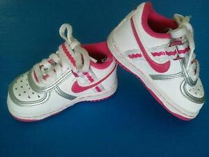 Infant Toddler Baby Girl 3 5C Leather Nike Shoes White