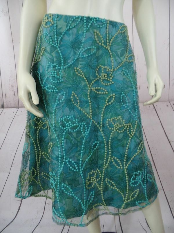 JILL MICHELLE Skirt 8 Poly Embroidered Sheer Floral Overlay bluees Greens SUMMER