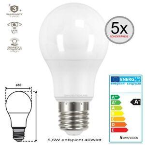 E27-LED-SMD-Leuchtmittel-Gluehlampe-5-5W-Warmweiss-entspricht-40Watt-Birne-5-Stueck