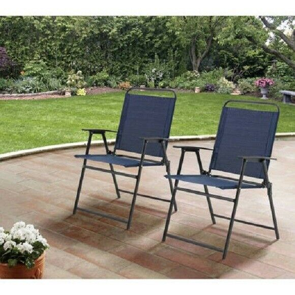 Enjoyable Mainstays Set Of 2 Pleasant Grove Sling Folding Chairs Navy Brown Distressed Gmtry Best Dining Table And Chair Ideas Images Gmtryco