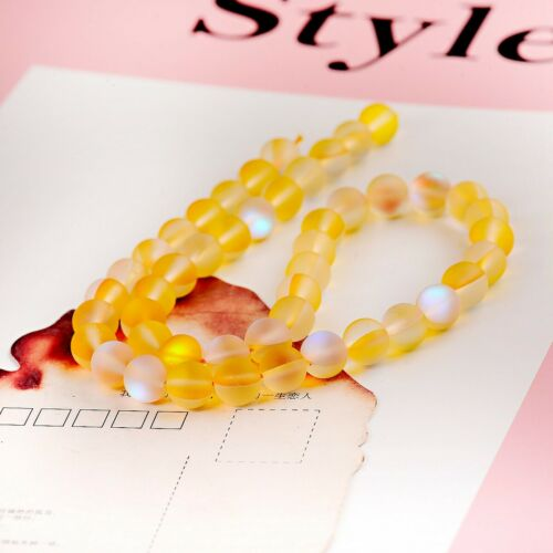 Yellow Matte Holographic Quartz Mystic Aura Gemstone Loose Beads 6mm 8mm 10mm