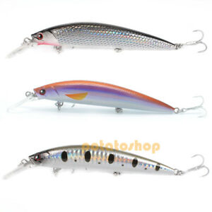 Pike-Fishing-Hard-Lure-Sinking-Bait-11cm-Popper-Minnow-Strong-6-VMC-Hook-Perch